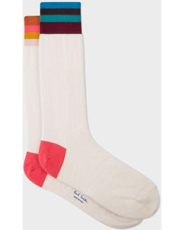 Men's White 'artist Stripe' Cuff Odd Socks