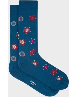 Men's Teal 'tudor Rose' Motif Socks
