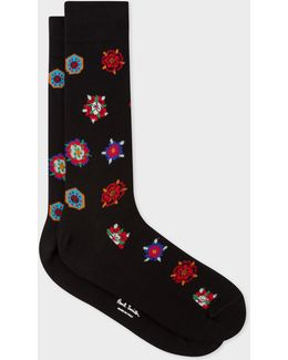 Men's Black 'tudor Rose' Motif Socks