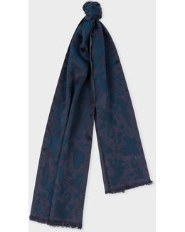 Men's Navy Feather Jacquard Silk-blend Scarf