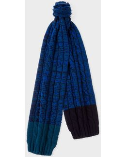 Men's Navy Cable Knit Wool Scarf