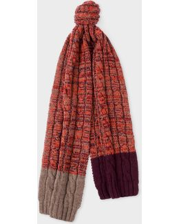Men's Damson Cable Knit Wool Scarf