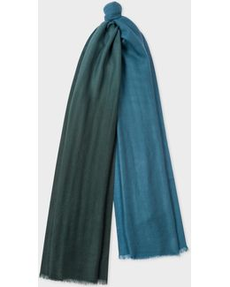 Men's Bottle Green And Petrol Dip-dye Cashmere Scarf