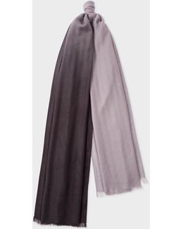 Men's Slate Grey And Light Grey Dip-dye Cashmere Scarf