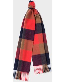 Men's Scarlet Red Check Pattern Cashmere Scarf