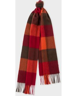 Men's Burgundy Check Pattern Cashmere Scarf