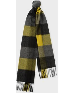Men's Black Check Pattern Cashmere Scarf