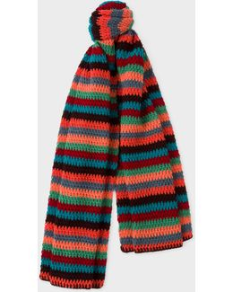 Men's Chocolate Brown Crochet Scarf With Multi-coloured Stripe