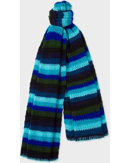 Men's Turquoise Crochet Scarf With Multi-coloured Stripes