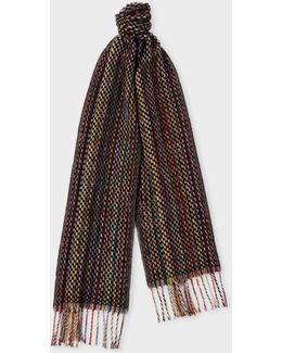 Men's Signature Stripe Basket Weave Pattern Cashmere Scarf