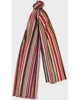 Men's Signature Stripe Textured Wool-silk Scarf