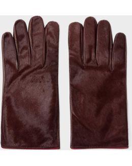 Men's Burgundy Calf Hair Gloves