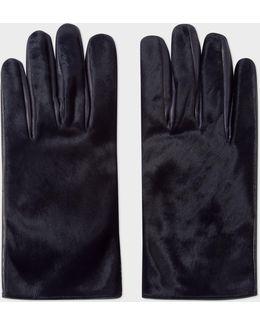 Men's Navy Calf Hair Gloves