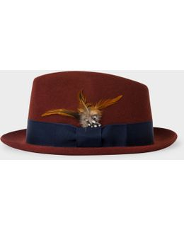 Men's Rust Brown Wool-felt Trilby With Feather