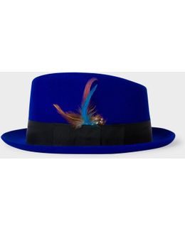 Men's Cobalt Blue Wool-felt Trilby With Feather