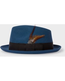 Men's Petrol Wool-felt Trilby With Feather