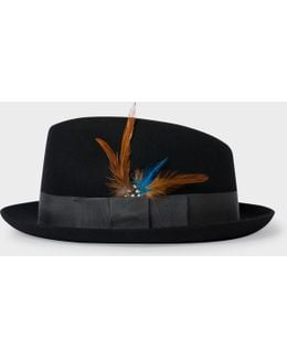 Men's Black Wool-felt Trilby With Feather