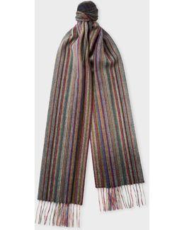 Men's Muted 'signature Stripe' Cashmere Scarf