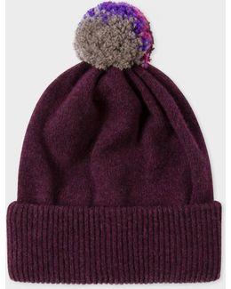 Men's Plum Lambswool Knitted Bobble Hat