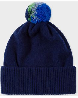 Men's Navy Lambswool Knitted Bobble Hat