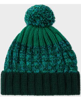 Men's Green Lambswool Twisted-yarn Cable Knit Bobble Hat
