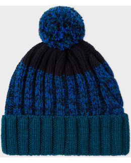 Men's Navy Lambswool Twisted-yarn Cable Knit Bobble Hat