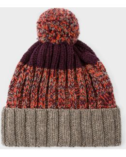 Men's Damson Lambswool Twisted-yarn Cable Knit Bobble Hat
