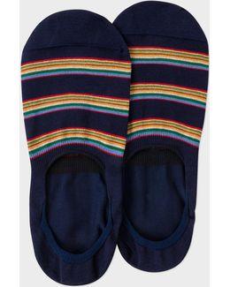 Men's Navy Multi-stripe Block Loafer Socks