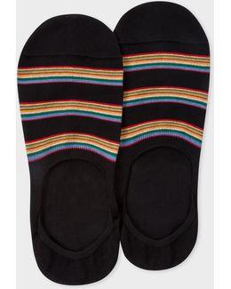 Men's Black Multi-stripe Block Loafer Socks
