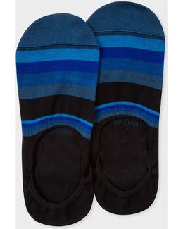 Men's Black And Blue Stripe Loafer Socks