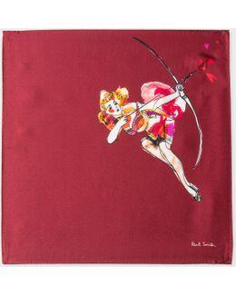 Men's Burgundy 'lady' Print Silk Pocket Square