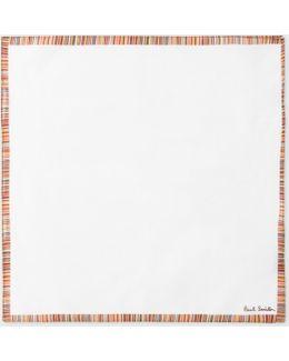 Men's White Pocket Square With 'signature Stripe' Border