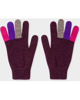 Men's Plum Wool Gloves With Multi-coloured Fingers