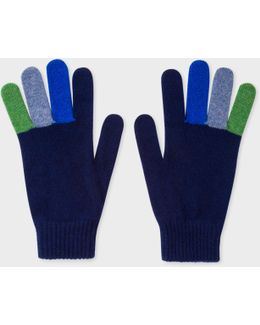 Men's Navy Wool Gloves With Multi-coloured Fingers