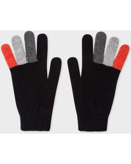 Men's Black Wool Gloves With Multi-coloured Fingers