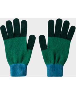 Men's Bottle Green Colour-block Wool Gloves