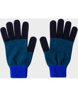 Men's Navy Colour-block Wool Gloves