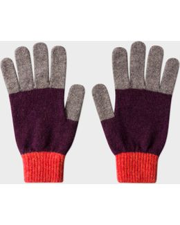 Men's Plum Colour-block Wool Gloves