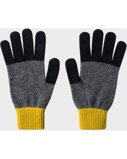 Men's Slate Grey Colour-block Wool Gloves