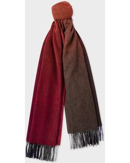 Men's Burgundy Watercolour Shades Lambswool Scarf
