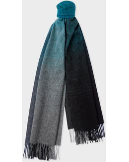 Men's Turquoise Watercolour Shades Lambswool Scarf