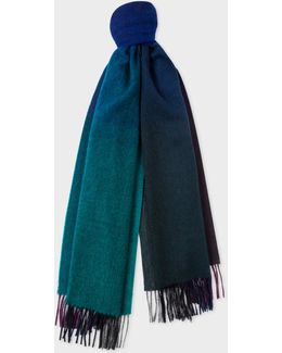 Men's Navy Watercolour Shades Lambswool Scarf
