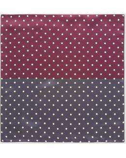 Men's Burgundy And Grey Polka Dot Silk Pocket Square