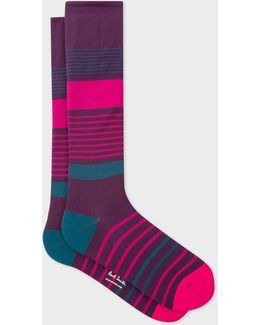 Men's Damson Block Stripe 'a Sock To Travel In'