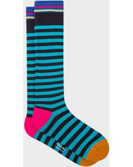 Men's Turquoise And Black Stripe 'a Sock To Travel In'