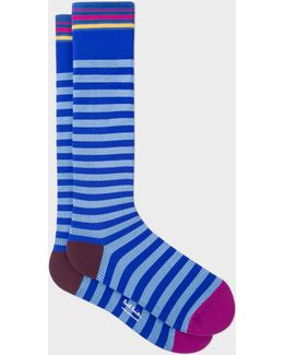 Men's Cobalt Blue And Light Blue Stripe 'a Sock To Travel In'