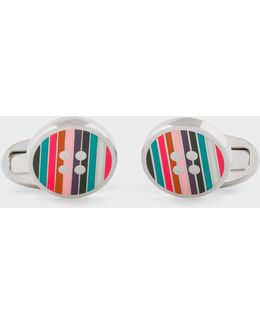 Men's Striped Button Cufflinks