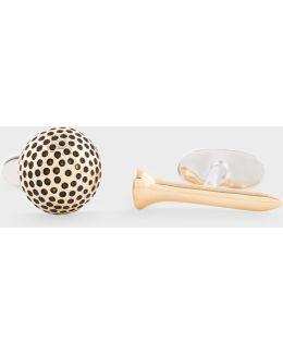 Men's Gold Golf Ball And Marker Cufflinks