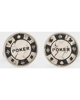 Men's Silver Poker Chip Cufflinks