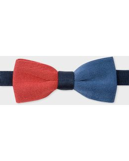 Men's Blue, Navy And Burnt Red Knitted Silk Bow Tie